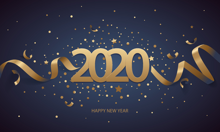 Happy New Year 2020. Golden numbers with ribbons and confetti on a dark blue background. Stock Illustratie