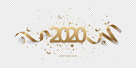 Happy New Year 2020. Golden numbers with ribbons and confetti on a transparent background.