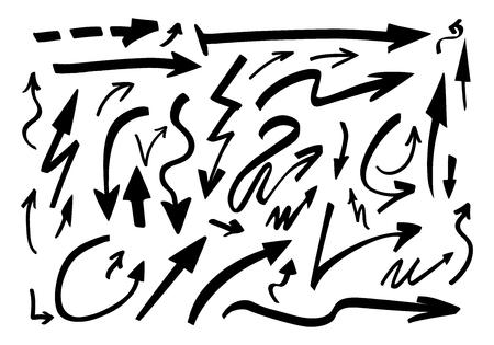 Set of hand drawn arrows. Vector illustration. Stock Illustratie