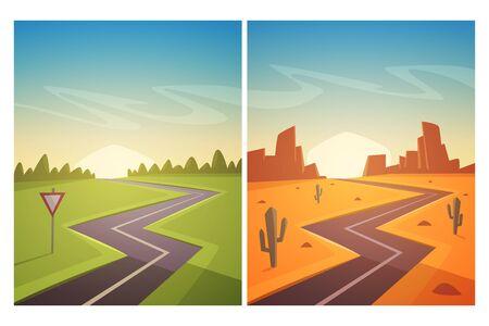 Set of cartoon landscape with asphalt road. Vector illustration.