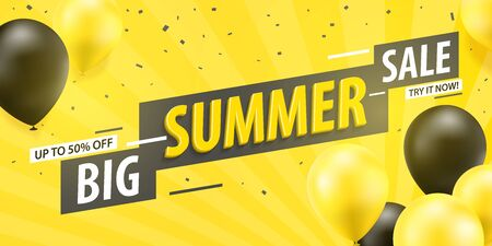 Big summer sale banner template design. Discount summer sale, half price. Black and yellow balloons on a yellow background.Vector illustration.