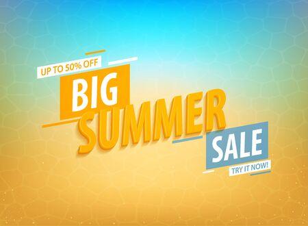 Big summer sale banner template design. Discount summer sale, half price. Vector illustration.