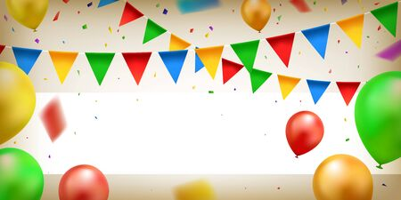 Colorful confetti, balloons and party flags with white banner. Celebration background. Vector illustration.