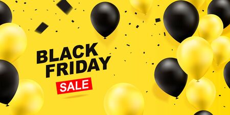 Black friday sale banner template design. Discount sale, half price. Black and yellow balloons on a yellow background.Vector illustration.