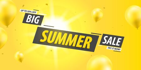 Big summer sale banner template design. Discount summer sale, half price. Yellow balloons with sun in background.Vector illustration.