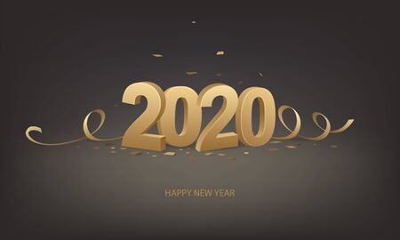Happy New Year 2020. Golden 3D numbers with ribbons and confetti on a black background.