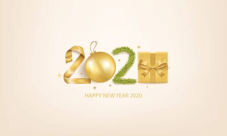 Happy New Year 2020 background with Christmas decoration and gift box.