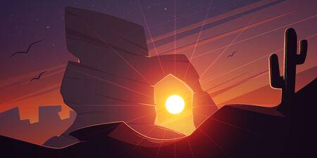 Cartoon vector illustration of the desert landscape at sunset time. Sunset at desert.