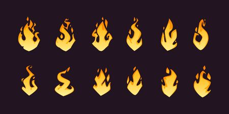Set of different cartoon fire flames, isolated on dark background. Vector illustration.