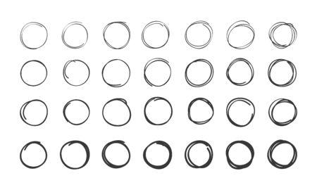 Set of hand drawn scribble circles. Illusztráció