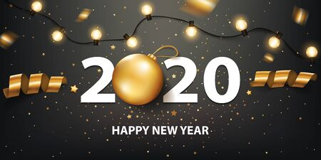 Happy New Year 2020 background with Christmas light and decoration. Illusztráció