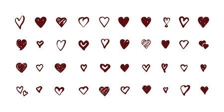 Set of hand drawn hearts icons. Vector illustration.
