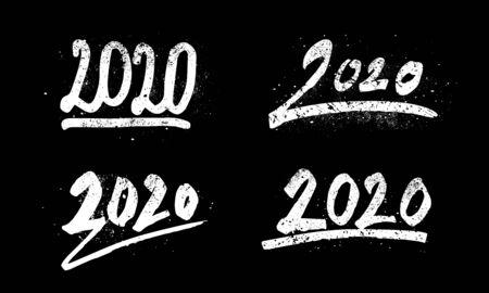 Hand drawn, grunge numbers 2020, isolated. Vector illustration. Illusztráció