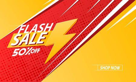 Flash sale background, template, poster or banner. Sale background. Vector illustration.