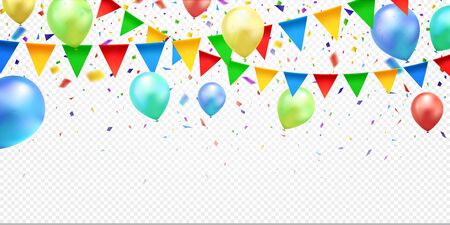 Colorful confetti, balloons and party flags, isolated on transparent background. Celebration background. Vector illustration.