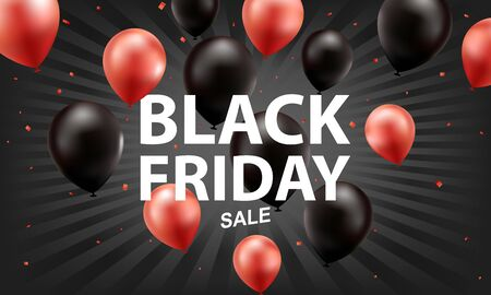 Red and black balloons, black friday sale background.