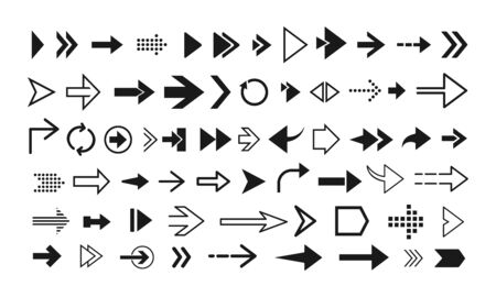 Set of various arrows icons. Arrow collection.