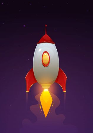 Space rocket launch. Cartoon illustration of the flying rocket. Spaceship flying.