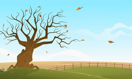 Rural countryside landscape in the fall time. Autumn landscape. Cartoon vector illustration.