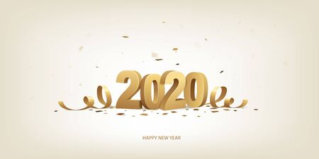 Happy New Year 2020. Golden 3D numbers with ribbons and confetti on a bright background.