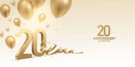20th Anniversary celebration background. 3D Golden numbers with bent ribbon, confetti and balloons. Vektoros illusztráció
