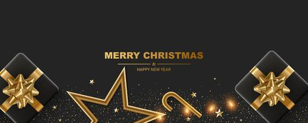 Christmas background. Merry Christmas and happy new year. Black gift boxes with gold self adhesive bows, golden star, garland and confetti on a black background.