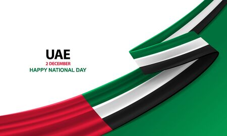 Happy United Arab Emirates national day, december the 2nd, bent waving ribbon in colors of the United Arab Emirates national flag. Celebration background.