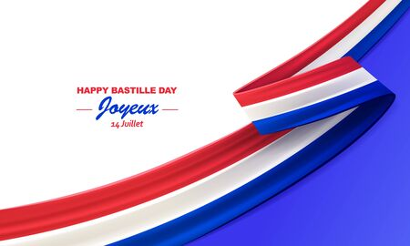 Happy Bastille Day, Joyeux 14 Juillet. 14th july, French national day, bent waving ribbon in colors of the French national flag. Celebration background. Çizim