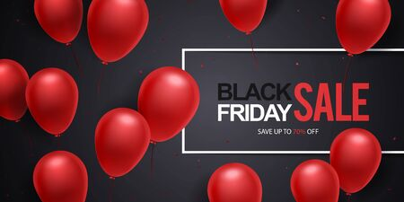 Black friday sale background with frame, confetti and red balloons on black background. Black fridays sale discount banner template. Ilustração