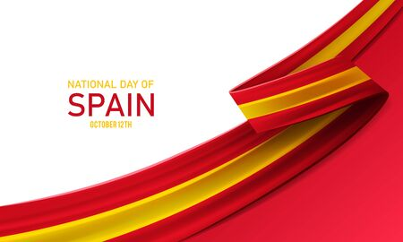 Happy national day of Spain, october 12th, fiesta nacional de Espana, bent waving ribbon in colors of the Spain national flag. Celebration background. Ilustracja