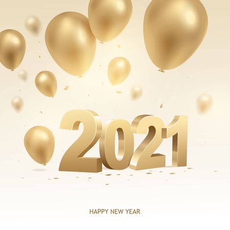Happy new year 2021. Golden 3D numbers with balloons and confetti on bright background. Zdjęcie Seryjne - 140204479