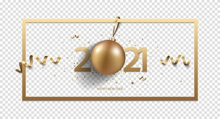 Happy New Year 2021 background with Christmas decoration and confetti, isolated on transparent background. Zdjęcie Seryjne - 140204480