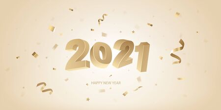 Happy New Year 2021 background. Golden 3D numbers and confetti on a bright background.