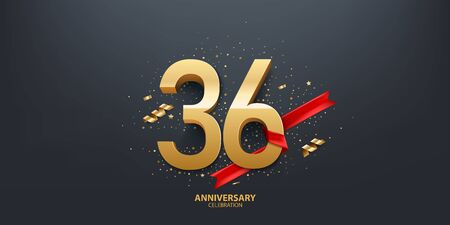 36th Year anniversary celebration background. 3D Golden number wrapped with red ribbon and confetti on black background.