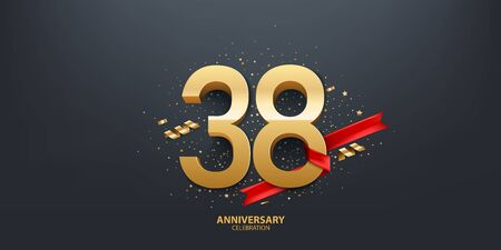 38th Year anniversary celebration background. 3D Golden number wrapped with red ribbon and confetti on black background.
