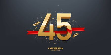 45th Year anniversary celebration background. 3D Golden number wrapped with red ribbon and confetti on black background.