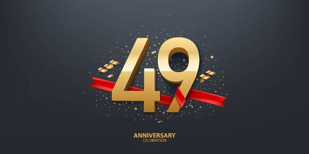 49th Year anniversary celebration background. 3D Golden number wrapped with red ribbon and confetti on black background.