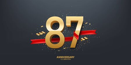 87th Year anniversary celebration background. 3D Golden number wrapped with red ribbon and confetti on black background.