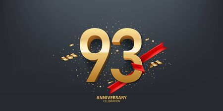 93rd Year anniversary celebration background. 3D Golden number wrapped with red ribbon and confetti on black background.