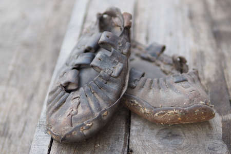 Leather shoes made 100 years ago in the Polesie region, Belarus Imagens