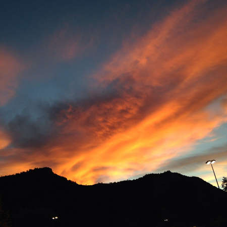 Sunset and mountain silhouette