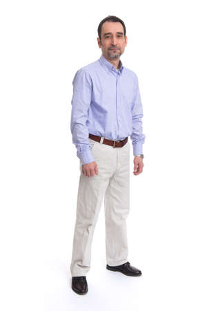 45 50: Business man is in full  length over a white background.