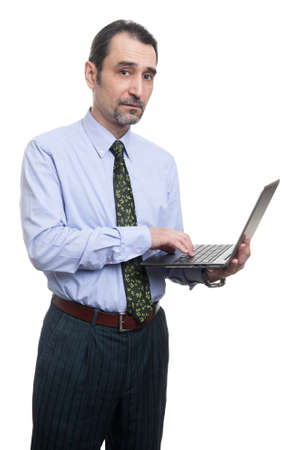3 persons only: businessman using laptop isolated over white background. Vertical shot. Stock Photo