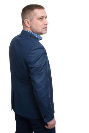 man profile: Half-length profile of business man, isolated.
