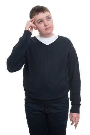 normal school: cute boy thinking gesture isolated on white