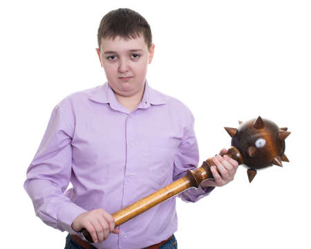 ruffian: Angry man with wooden sledgehammer isolated Stock Photo