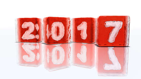 2 0: Four blocks of rough red ice on white background with frozen-in bubbles in the form of numbers 2, 0, 1 and 7 Stock Photo