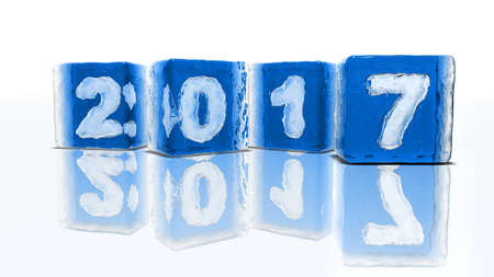 2 0: Four blocks of rough blue ice on white background with frozen-in bubbles in the form of numbers 2, 0, 1 and 7 Stock Photo