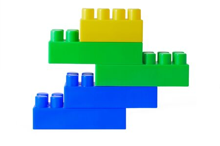 Multi-coloured blocks of the childrens designer are collected in a tower
