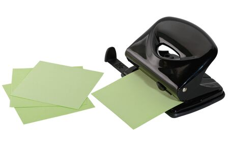 paper punch: black hole punch for paper and several sheets Stock Photo